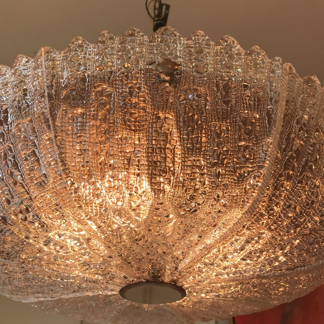 Hollywood Regency Carl Fagerlund for Orrefors Molded Glass Pendant Fixture For Sale - Image 3 of 8
