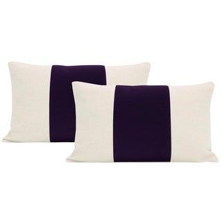 """12""""x 18"""" Aubergine Velvet Panel & Linen Lumbar Pillows - a Pair For Sale"""