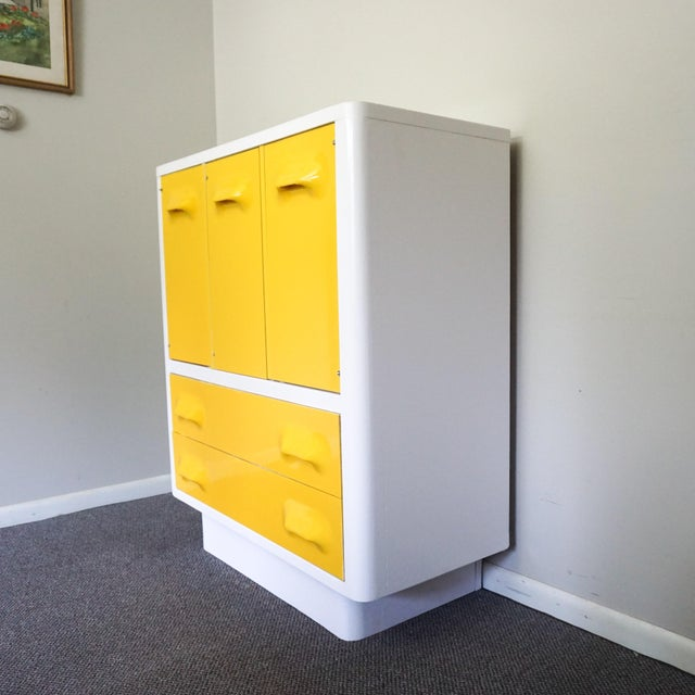 Mid-Century Modern 1970s Mid Century Modern Broyhill Premier Chapter One Yellow Armoir Dresser For Sale - Image 3 of 8