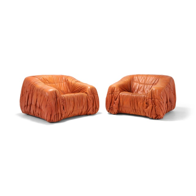 Cognac Leather Postmodern Lounge Chairs by De Pas, D'urbino & Lomazzi For Sale - Image 11 of 11