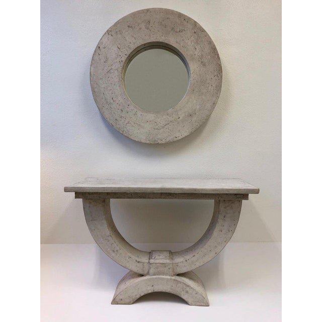 Michael Taylor Faux Stone Console Table and Mirror by Michael Taylor For Sale - Image 4 of 8
