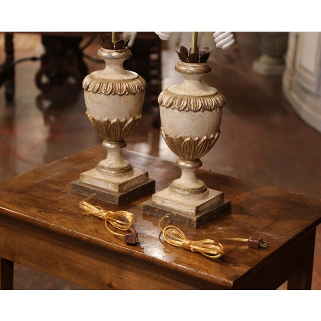 Italian Carved Wood Polychrome and Painted Urn Shape Table Lamps - a Pair For Sale - Image 12 of 13