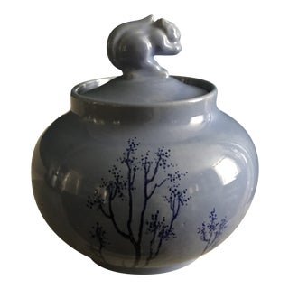 Vintage Hand Made and Decorated Pottery Lidded Jar For Sale