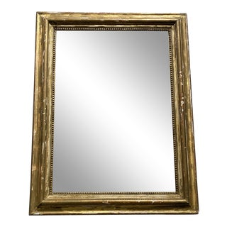 Antique French Distressed Gold Mirror For Sale