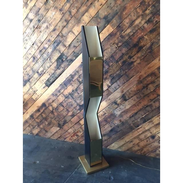 Vintage Sculptural Gold & Black Floor Lamp - Image 4 of 8