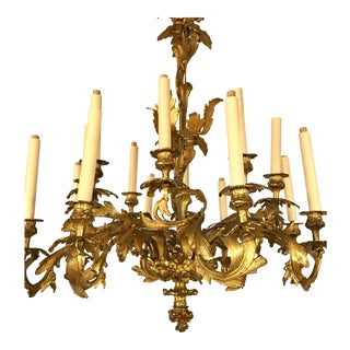 Belle Epoque French Late 19th Century Bronze Chandelier For Sale