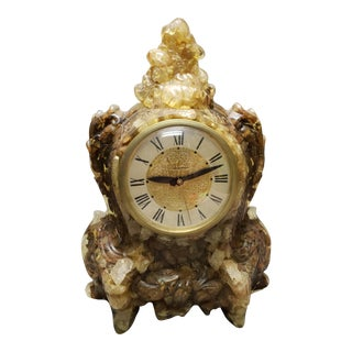 1950's Vintage Lanshire Lucite/Rocks Electric Mantel Clock For Sale