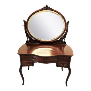 Antique Victorian Mahogany Bow Front Vanity For Sale
