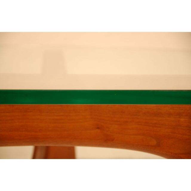 Noguchi Style Walnut & Glass Coffee Table - Image 4 of 7