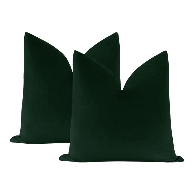 "22"" Emerald Velvet Pillows - a Pair For Sale"