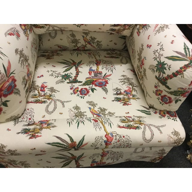Vintage Toile Club Chairs - Pair - Image 4 of 7