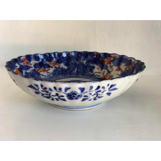 Japanese Antique Japanese Imari Oval Scalloped Bowl For Sale - Image 3 of 12