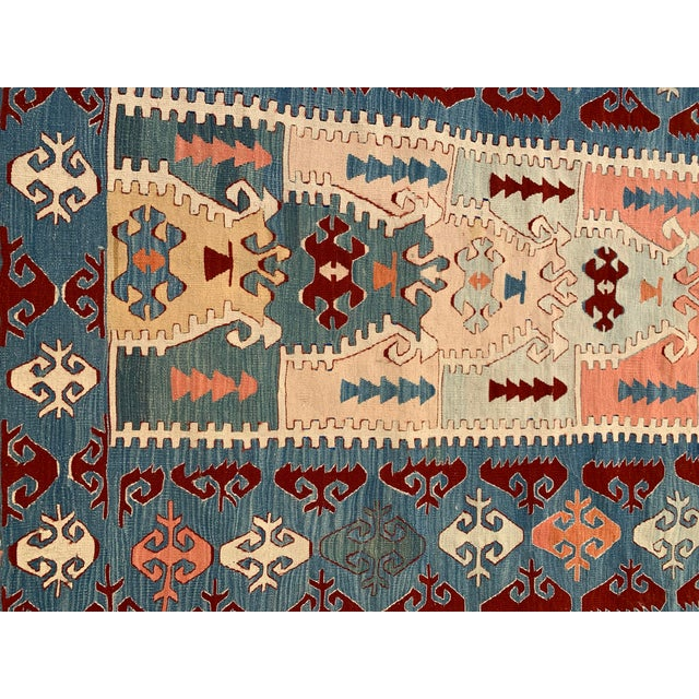 Blue and Coral Kilim Rug- 3′8″ × 5′2″ For Sale - Image 4 of 10