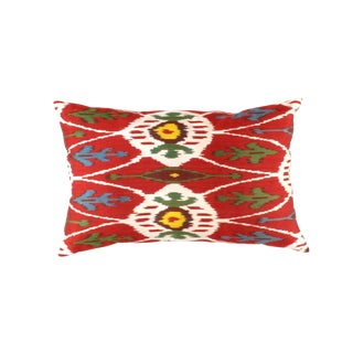 Contemporary Pasargad Oasis Collection Silk Velvet Ikat Pillow - 24ʺW × 16ʺH For Sale