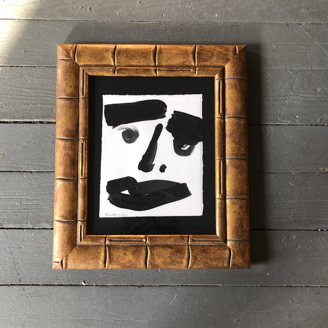 2020s Original Contemporary Robert Cooke Abstract Face Painting Ornate Frame For Sale - Image 5 of 5