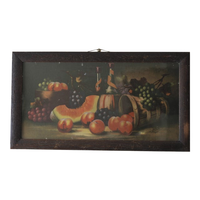Antique 19th C. Watermelon, Fruit & Wine Painting For Sale
