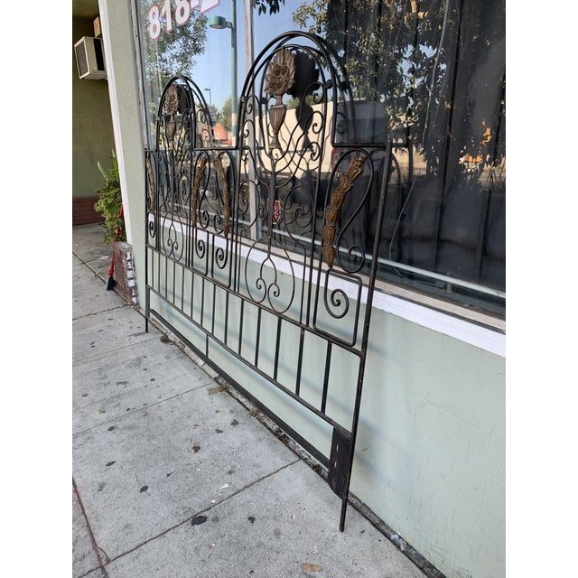 Metal Vintage Hollywood Regency Wrought Iron and Wood Accent Headboard For Sale - Image 7 of 11
