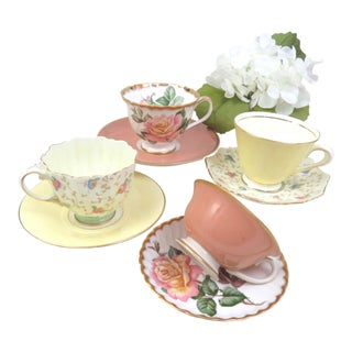 Vintage Mismatched Bone China Cups & Saucers - Set of 4