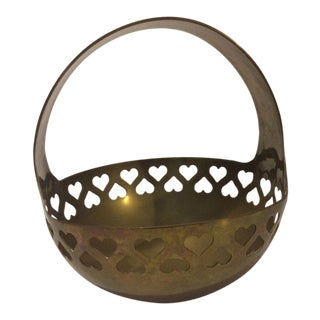 Vintage Brass Hearts Basket For Sale