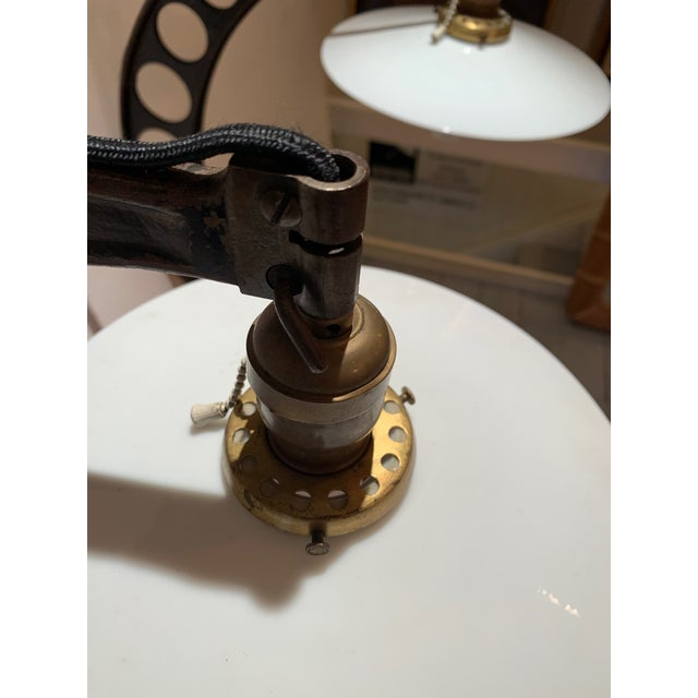 19th Century Crescent Shaped Micrometer Custom Lamps -A Pair For Sale - Image 4 of 13