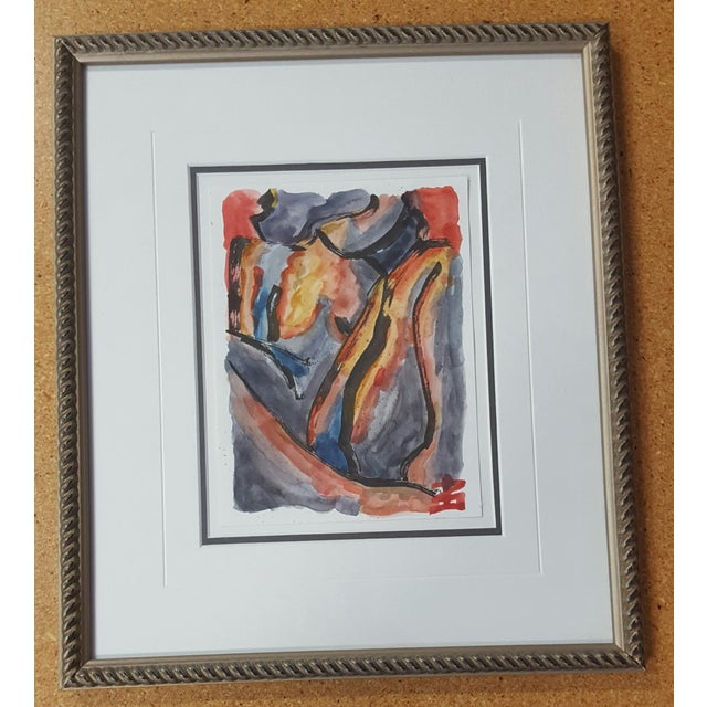 Abstract Female Nude Watercolor Painting - Image 2 of 3