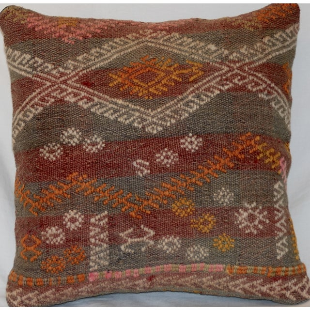 Red and Gray Vintage Handmade Wool Boho Pillow - Image 4 of 8