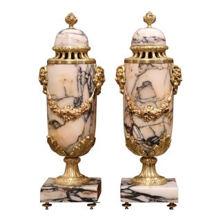 Pair of 19th Century French Carved Variegated Marble and Bronze Cassolettes For Sale
