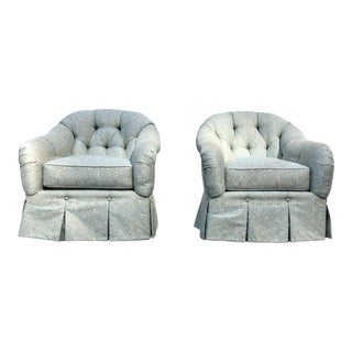 Kravet Tufted Coastal Turquoise English Style Skirt Upholstered Club Chairs - a Pair For Sale