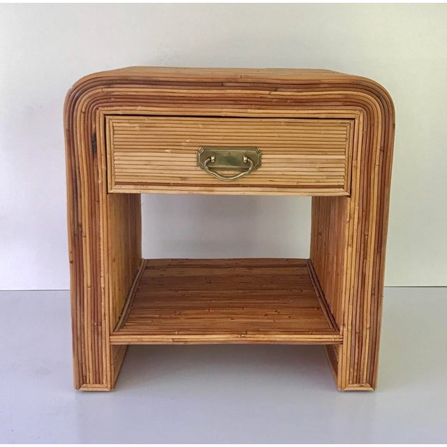 Italian Gabriella Crespi Style Pencil Reed Nightstand For Sale - Image 9 of 9
