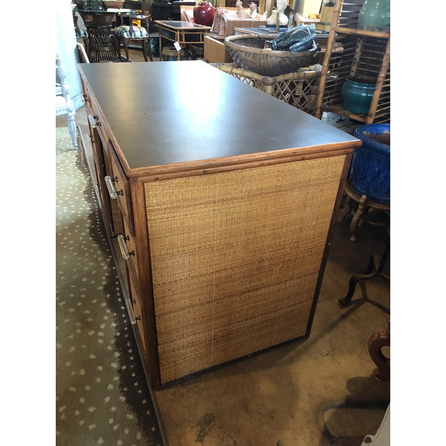 1990s Boho Chic Rattan Partner Desk For Sale In West Palm - Image 6 of 8