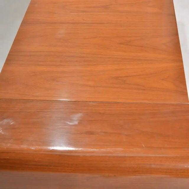 Chestnut 1980s Italian Modern Credenza With Leather Base For Sale - Image 8 of 9