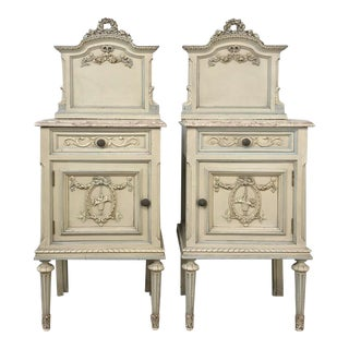 Pair Antique Italian Louis XVI Painted Nightstands For Sale