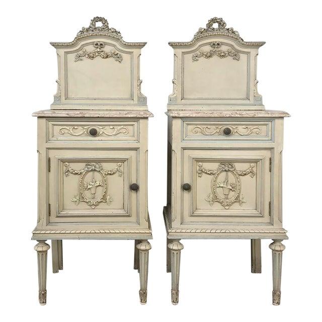 Pair Antique Italian Louis XVI Painted Nightstands For Sale