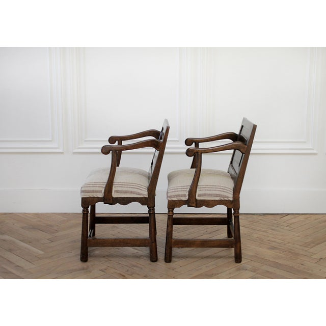 Mid 20th Century Pair of Fruitwood Carved and Upholstered Arm Chairs For Sale - Image 5 of 13