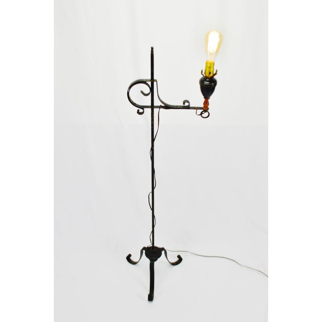 Vintage Arts & Crafts Mission Style Wrought Iron Adjustable Height Floor Lamp For Sale In Philadelphia - Image 6 of 13