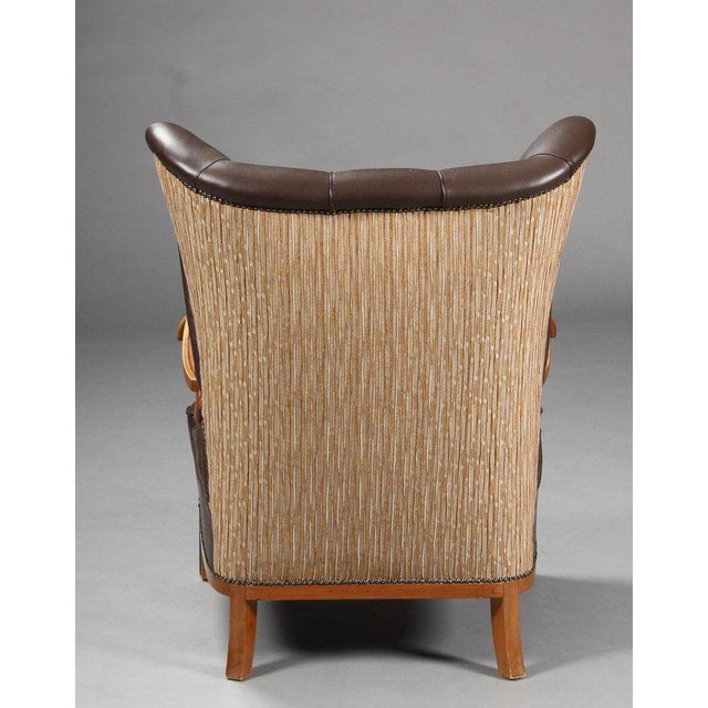1940s Vintage Danish Leather Wingback Chairs - A Pair For Sale - Image 4 of 5