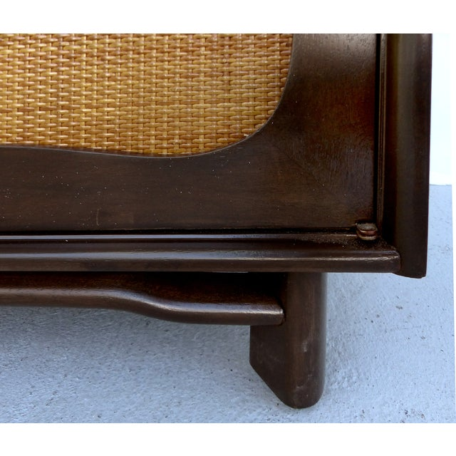Lacquered 50's Credenza With Woven Cane Doors - Image 8 of 10