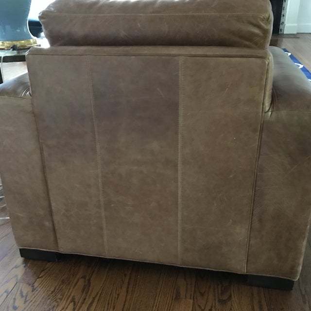 Ethan Allen Distressed Leather Hudson Club Chair - Image 4 of 7