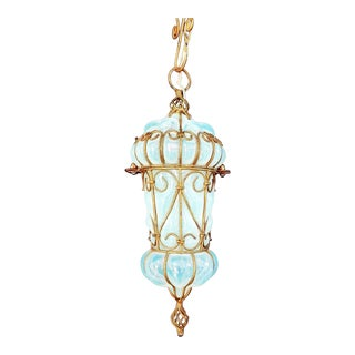 1960s Vintage Murano Caged Opaline Glass Lantern For Sale