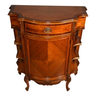 1920s French Carved Walnut & Satinwood Inlaid Console Cabinet For Sale