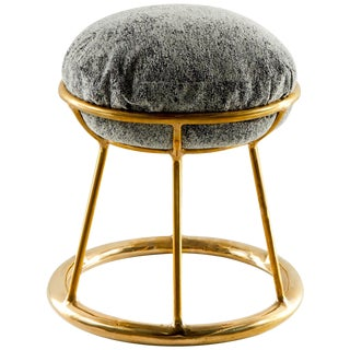 Low Brass Sculpted Stool, Misaya For Sale