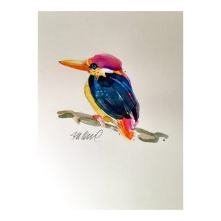 """""""I'm a Fishing Bird"""" Original Watercolor Painting For Sale"""