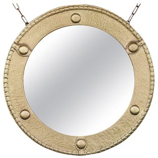 Antique Brass Federal Round Wall Mirror For Sale