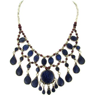 Lapis Lazuli Tribal Fringe Necklace For Sale