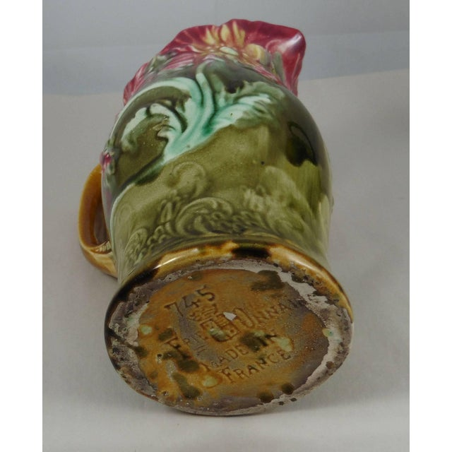 1900 - 1909 1900s Art Nouveau Majolica Onnaing Signed Poppies Pitcher For Sale - Image 5 of 6