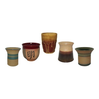 Studio Handmade Pottery Cups Without Handles - Set of 5