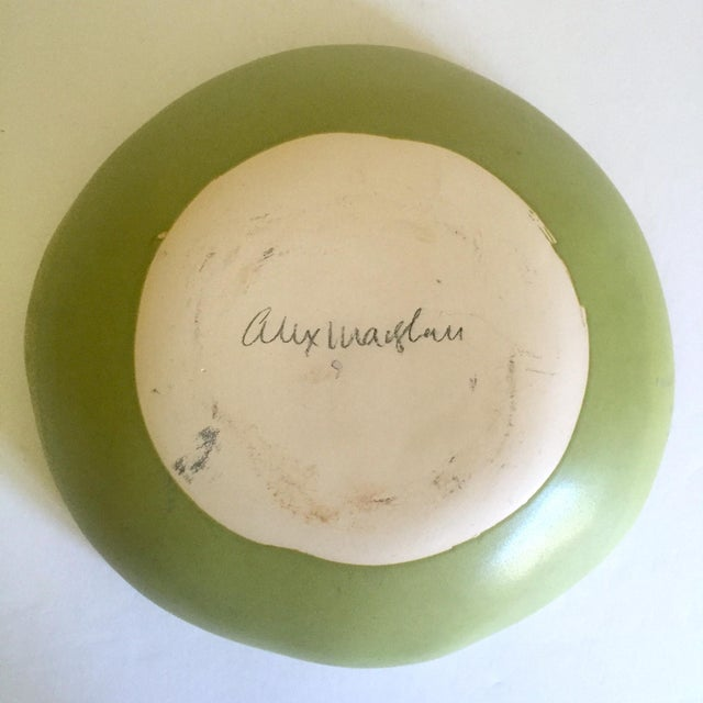 Alex Marshall Studios Pottery Vintage Organic Modernist Extra Large Chartreuse Ceramic Serving Bowl For Sale - Image 12 of 13