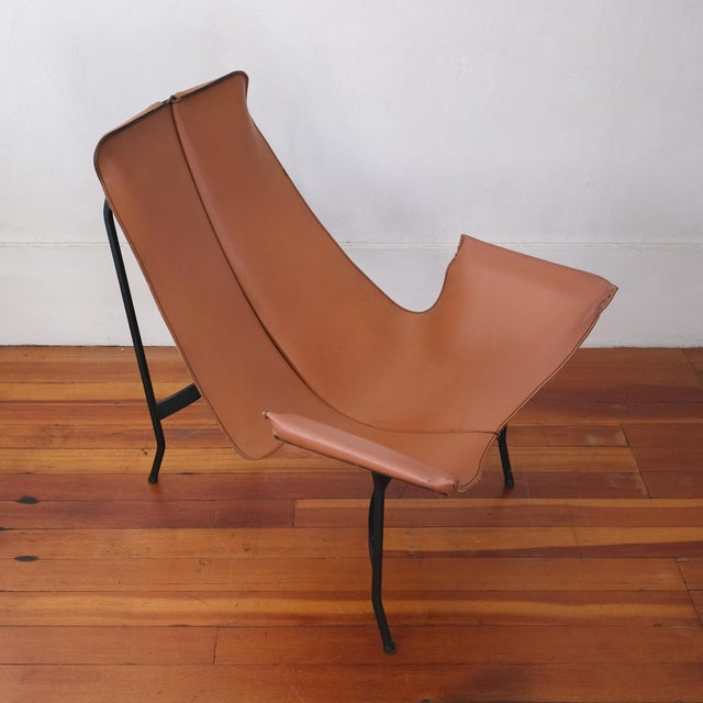 Mid-Century Modern William Katavolos for Leathercrafter Leather and Iron Sling Chair For Sale - Image 3 of 10