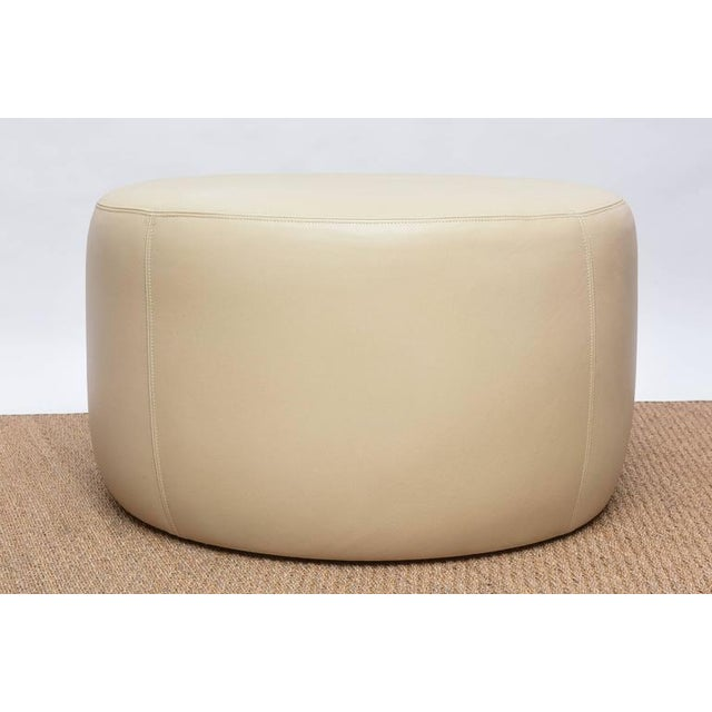 Contemporary Round Leather Ottoman For Sale - Image 3 of 9