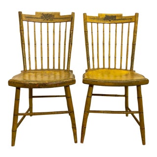 Antique American Step-Down Windsor Chairs - a Pair For Sale